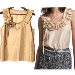 J. Crew Silk Bouquet Pleated-Neck Sleeveless Sz12